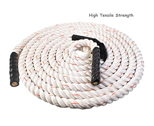 1.5'' Poly Dacron 50ft/White Battle Rope Workout Strength Training Undulation TKT-11 by TKT-11 (Image #1)
