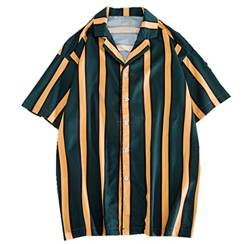 Mens Stripe Shirts Loose Casual Button Down Short Sleeve Beach Shirt Tops, Party Holiday Green (Lee Side Elastic Twill Pants Plus Size)