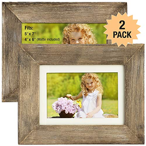 Rustic Barnwood Picture Frame Set: Fits 5x7 or 4x6 Photos with Included Matte Photo Frames Holder for Wall Desktop or Tabletop Display. Thick Weathered Gray Wood Home Decor. (Pack of 2) (Rustic Family Picture Frames)