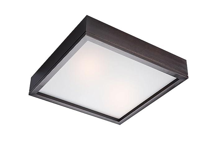 Plafoniere Per Tetto In Legno : Plafoniera lampada soffitto in legno vetro 33 cm x 2 e27 km
