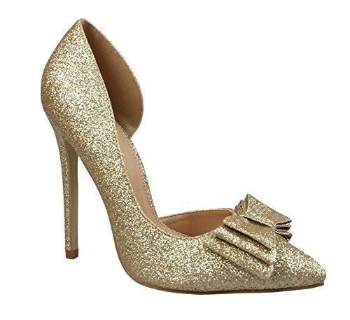 Bridal Bow - Chicastic Glitter Sparkling Bow Decor High Heel Platform Pumps Bridal Party Shoes Gold 7.5