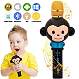 UVUXZLW Microphone for Kids Karaoke Microphone Bluetooth Wireless Microphone Portable Handheld Karaoke Machine Toys Gifts Singing Recording Home KTV Party iPhone Android PC Smartphone (Black)