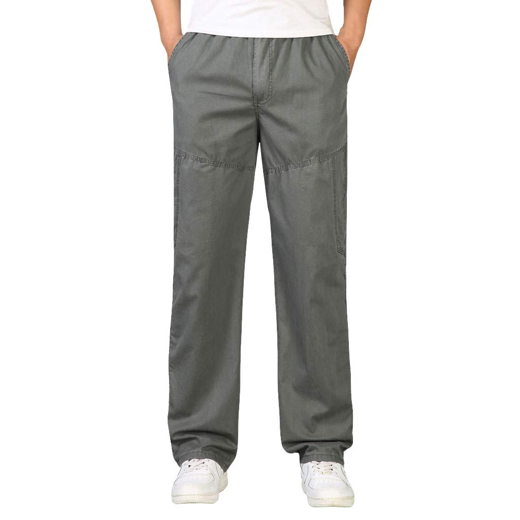 Eruption_X  Mens Plus Size Casual Cargo Pants Loose Straight Sweat Pants Outdoor Pants Size 3XL-6XL Army Green