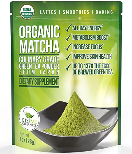 Matcha Green Tea Powder - Powerful Antioxidant Japanese Organic Culinary Grade (1 oz) - For use in Lattes, Cookies, Smoothies, and Baking