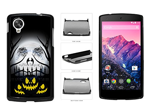 [Halloween Pumpkin With Moon Face Plastic Phone Case Back Cover For LG Google Nexus 5 D820 comes with Security Tag and myPhone Designs(TM) Cleaning Cloth] (Google Halloween Costumes)