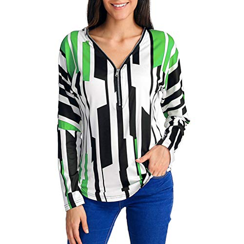 Keliay Bargain Women's Casual Striped Printed V-Neck Zipper Long Sleeved Detail Top Blouse