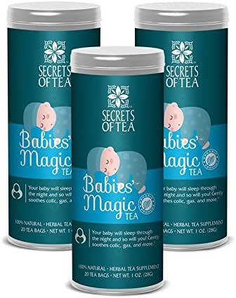 Secrets of Tea Baby Colic Babies' Magic Tea - Organic, Natural, Safe - Calming & Soothing Relief for Baby Acid Reflux, Gas, Colic - Your Baby Will Sleep Thru The Night Guaranteed - Pack of 3