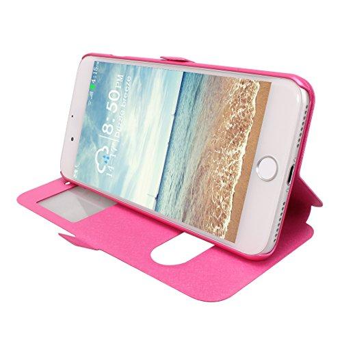 iPhone 7 Plus Ventana Vista Caso, iPhone 8 Plus Funda Libro, Moon mood PU Cuero Carcasa Piel con Tapas [Interior Duro PC Cubierta] Flip Folio Kickstand Estuche para iPhone 7 Plus / 8 Plus 5.5 pulgada  Rosa Roja
