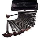 DragonPad 32 Pcs Black Rod Makeup Brush Cosmetic Set Kit with Case