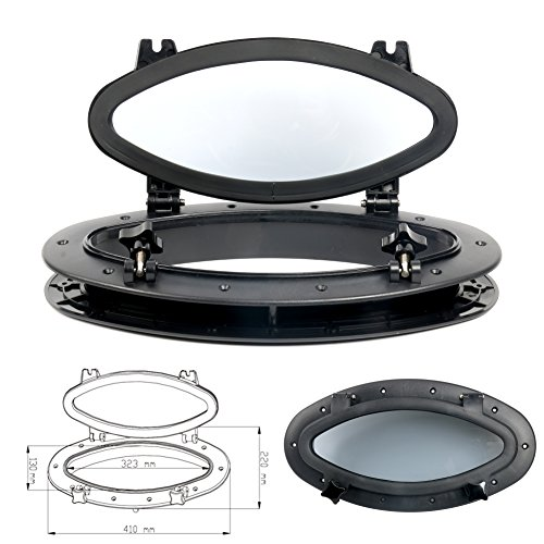 """- Amarine-made Boat Yacht Elliptical Oval Opening Portlight Porthole 16"""" X 8-5/8"""" Replacement Window Port Hole - ABS & Black & Tempered Glass (B)"""