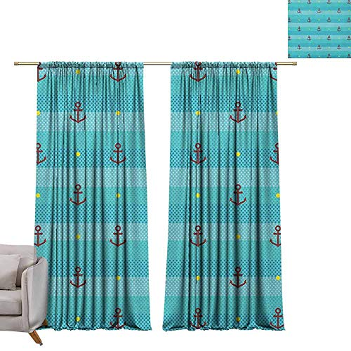 berrly Room Darkening Wide Curtains Aqua,Nautical Pattern with Halftone Dotted Sea Inspired Background and Marine Anchor Icons, Multicolor W72 x L108 Thermal Insulating Blackout Curtain