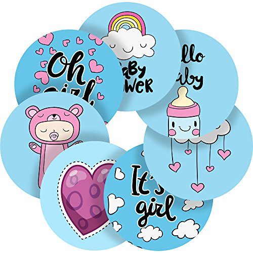Lovely Hand Drawn Baby Shower Girl Reward Sticker Labels, 70 Stickers @ 1