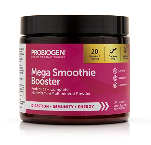 Probiogen Mega Smoothie Booster | Probiotic Multi Powder: Smart Spore Technology, DNA Verified, 100X Better Survivability, 7 oz -  WR GROUP, INC