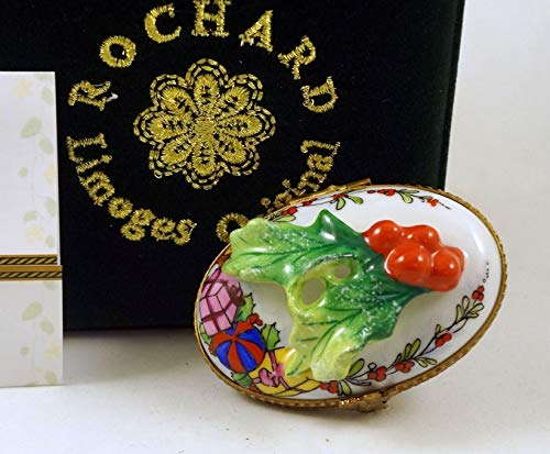 (Authentic French Porcelain Hand Painted Rochard Limoges Box Gorgeous Merry Christmas Box with Holly and Gifts)