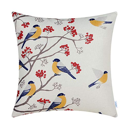CaliTime Canvas Throw Pillow Cover Case for Couch Sofa Home Decoration Chickadees Birds with Red Floral Tree Branches 18 X 18 Inches Golden Yellow Birds - Black Square Cream