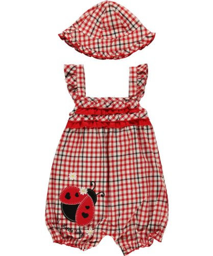 """Young Hearts """"Little Lady"""" Romper with Hat - red, 24 months"""