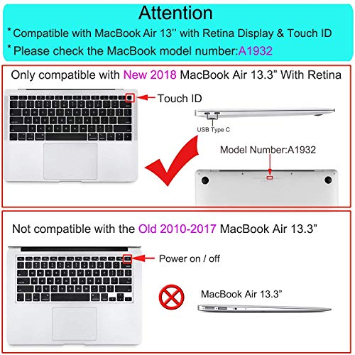 MOSISO Keyboard Cover Compatible with MacBook Air 13 inch 2019 2018 Release A1932 with Retina Display & Touch ID, Waterproof Dust-Proof Protective Silicone Skin, Hollow Black