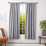 AmazonBasics - Barra para cortinas con tapas con tapas, 91-182 cm, negro