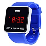 Jewtme Touch Screen Digital LED Waterproof Boys Girls Sport Casual Wrist Watches -Blue