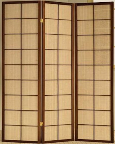 Panel Fabric In-Lay Wooden Screen Room Divider in a White, Cherry or Natural Finish (Panel Cherry Finish Wooden Screen)