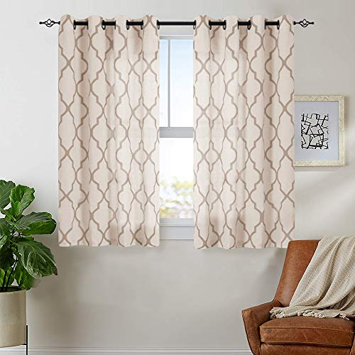 "jinchan Moroccan Tile Print Curtains for Living Room- Quatrefoil Flax Linen Blend Textured Geometry Lattice Grommet Window Treatment Set for Bedroom - 50"" W x 63"" L - (2 Panels) Taupe"