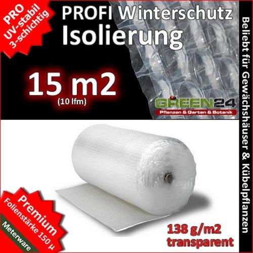 GREEN24 Noppenfolie Luftpolsterfolie 10m (15m2) PRO3 Frostschutz, Windschutz und Winterschutz, Isolierung und Wärmeschutz, Fr