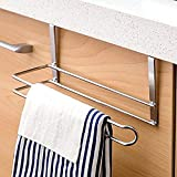 GTG Towel Rack for Kitchen Cabinet Door-Hang on Inside or Outside of Doors, Storage and Display Rack for Hand, Dish, and Tea Towels,Stainless Steel