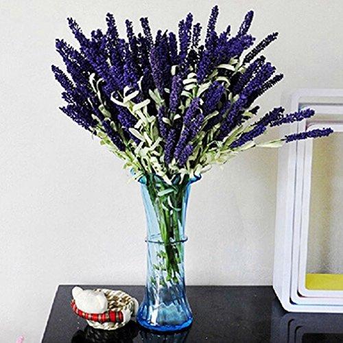 ALCYONEUS 12 Heads Bouquet Artificial Lavender Flower Fake Garden Plant Home Decor (Dark - Lily Dark Purple
