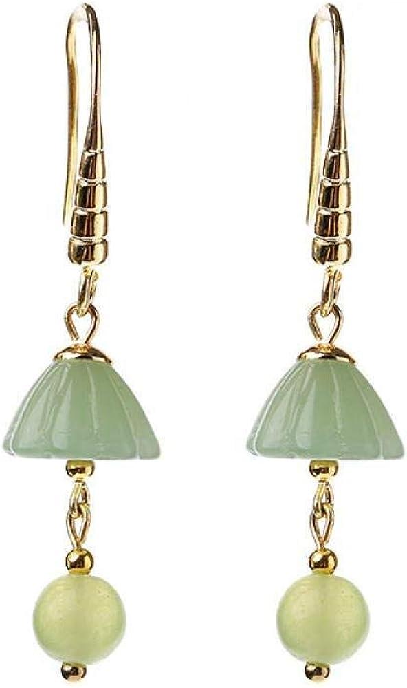 Pendientes Pendientes elegantes de estilo vintage pendientes de personalidad colgante de jade pequeño pendientes de estilo étnico literario femenino