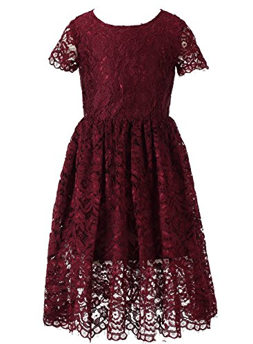 Happy Rose Short Sleeve Lace Flower Girl Dress Wine 10 (10 Years Dry Wine)
