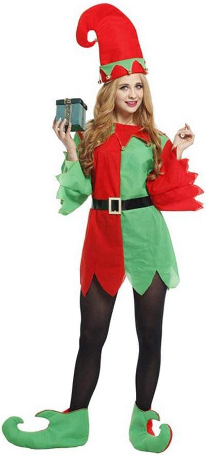 Lingqiqi Disfraz de Santa Claus Disfraz de Santa ayudante Elfo ...