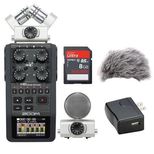 ZOOM H6 Portable Recorder Kit with a Custom Windbuster, A...