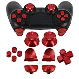 Full Metal Bullet Buttons for PS4 Controller, COCOTOP Aluminium Buttons Thumbsticks Thumb Grip, ABXY Buttons, D-pad, L1 R1 L2 R2 Trigger Buttons for PS4 PS4 Slim PS4 Pro Controller (Red)