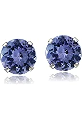14K White Gold 1.00ct TGW Tanzanite Round Stud Earrings