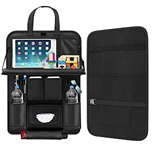 """Back Seat Car Organizer, Car Organizer for Kids Toy Bottles Storage Foldable Dining Table 9.7"""" Tablet Holder Family Road Trip Accessories (Black 1PC)"""