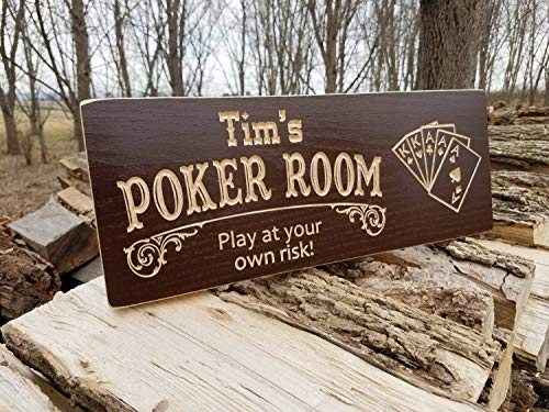 Personalized Wood Poker Sign - Mildred Rob Personalized Poker Room Game Room Saloon Sign Man Cave Sign Playing Wood Sign Image Wooden Poker Card Signs Speak Easy Game Room Signs