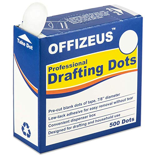 Professional Drafting Dots 500 pcs - Low Tack Pre-Cut Tape - Easy to Use, for Drawing, Blueprint, Artist, Architect