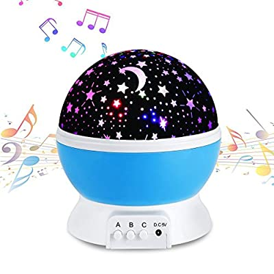 YHZO Lullaby Musical Night Light,YHone 360 Rotating Star Lamp Baby Musical Lamp with Rechargeable Battery,12 Songs to Relax for Sleep Kids Babies Birthday Children Day