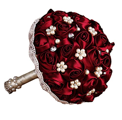 Flyme Wedding Bouquets,Bridal Bride Holding Flowers,Water Drops (Burgundy)