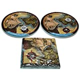 """Pirate Pirate's Map Birthday Party Bundle Dinner Napkins & 9"""" Plates Party Kit for 16"""