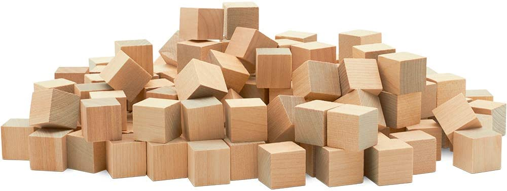 Unfinished Wooden Blocks 3/4 inch, Pack of 50 Small Wood Cubes for Crafts and DIY Home Décor, by Woodpeckers