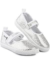 Girls Mary Jane Sneakers - Casual Canvas Shoes, Easy...