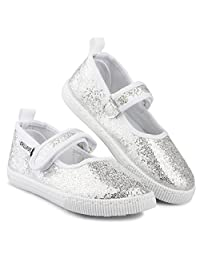 Girls Mary Jane Sneakers - Casual Canvas Shoes, Easy Close, Toddler Sizes 5-10