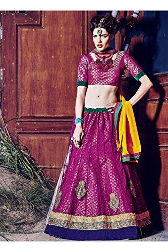 Da Facioun Indian Women Designer Wedding violet Lehenga Choli K-4774-42207
