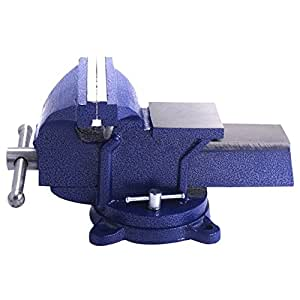 Heavy Duty 8'' Bench Vise 360 Degree Swivel Locking Base Table Bench Top Clamp Press Durable Cast Steel Construction Power Serrated Steel Jaws Woodworking Metalworking Craftman Tool