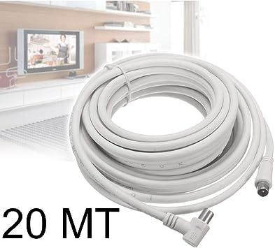 tradeshoptraesio® – CABLE Antena Macho Hembra 20 metros para TV Conector Jack Macho Hembra M/F