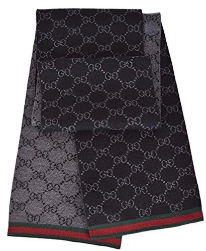 Gucci Unisex Wool Black Reversible GG Guccissima Red Green Stripe - Men Gucci Sale