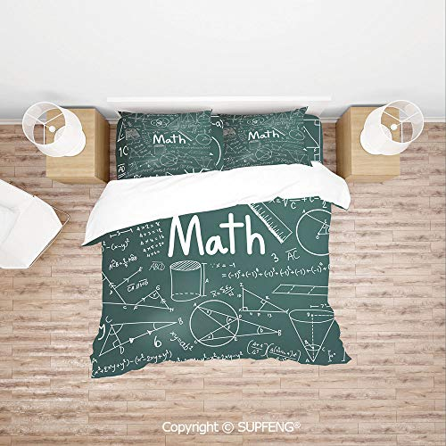 SCOXIXI Bed Cover Set School Board Full of Drawings Formulas Shapes Theory Math Word (Comforter Not Included) Soft, Breathable, Hypoallergenic, Fade Resistant