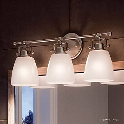 """Luxury Industrial Bathroom Vanity Light, Medium Size: 9.5""""H x 21.5""""W, with Traditional Style Elements, Vintage Design, Pretty Brushed Nickel Finish and Opal Etched Glass, UQL2101 by Urban Ambiance"""