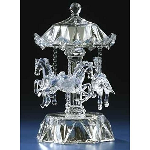 ICY Crystal LED Lighted Love Makes The World Go Round Musical Animated Carousel ()